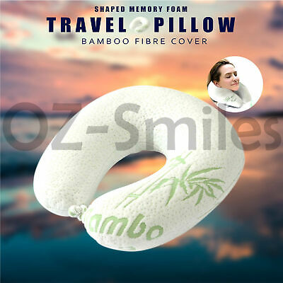 AU12.96 • Buy U Neck Pillow Flight Support Cushion Shaped BAMBOO MEMORY FOAM TRAVEL PILLOW