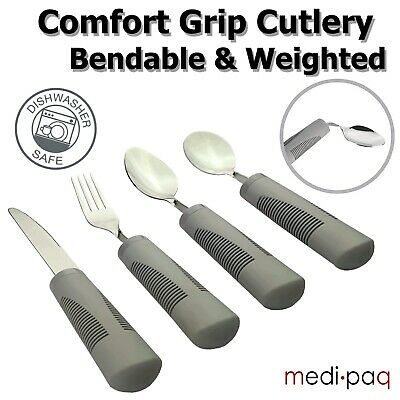 £17.95 • Buy Heavy Cutlery Weighted Large Handled Bendable Easy Grip Disability Eating Aids