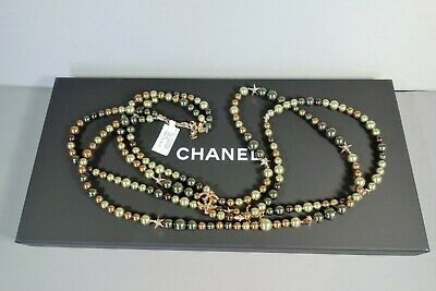 £1274.38 • Buy Chanel Double Strand Green Pearl Opera Long Necklace Habana Star Gold  CC  NEW
