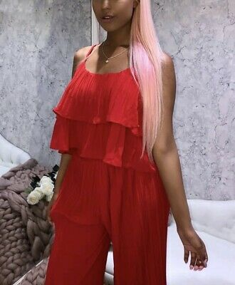 Women Ladies Summer Red Pleated Top With Trousers Co-ords Suit 2 Pieces Set • 12.99£