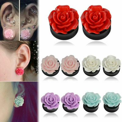 $1.39 • Buy Pair Acrylic Ear Plugs Tunnels Pure Rose Flower Saddle Flesh Expanders Jewelry