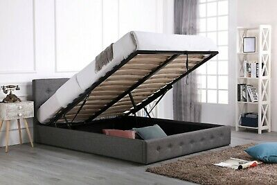 £199.99 • Buy Grey Fabric Ottoman Bed 4ft 4ft6 5ft 6ft Gas Lift Low End Style Mattress Option