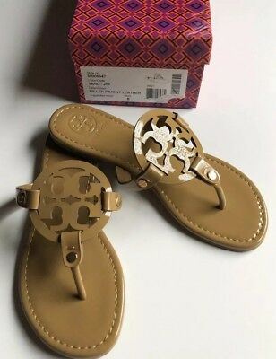 d834f6b48a73 New Tory Burch Nude Patent Leather Miller Logo Sandals Size 8 M-.- •