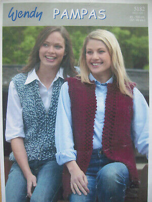Ladies GILET WAISTCOAT KNITTING PATTERN Pampas Super Chunky 32 - 43 Inch  80s • 1.99£