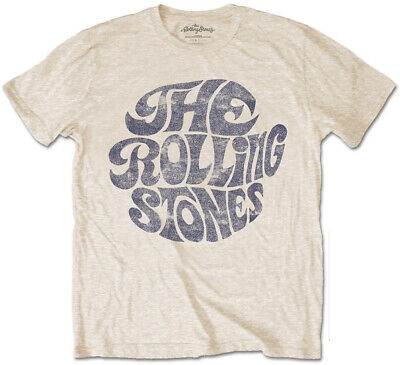 $ CDN21.49 • Buy Rolling Stones 'Vintage 70s Logo' (Sand) T-Shirt - NEW & OFFICIAL