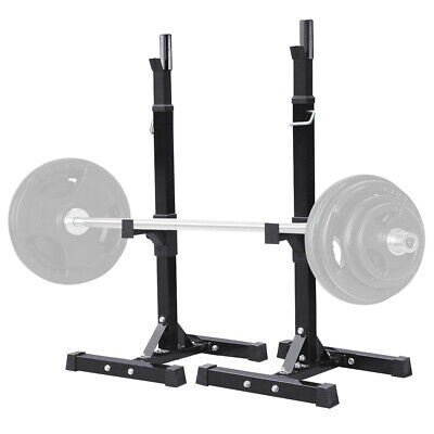 2PCS Adjustable Gym Exercise Squat Bench Rack Stand Olympic Weights Standing Set • 129.99£