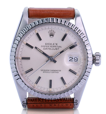 $ CDN7004.38 • Buy Rolex Mens Datejust 36mm Silver  Dial Engine Turned Bezel Leather Band Watch