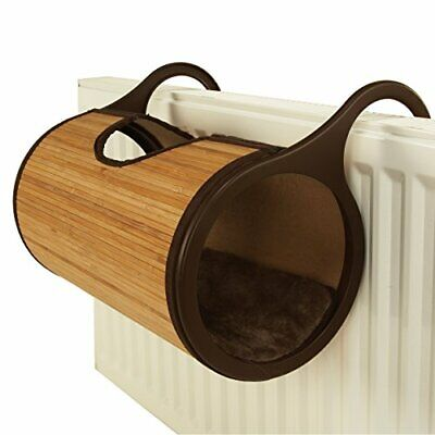 Rosewood Jolly Moggy Bamboo Radiator Cat Bed Basket Tunnel Tube With Cushion • 18.99£