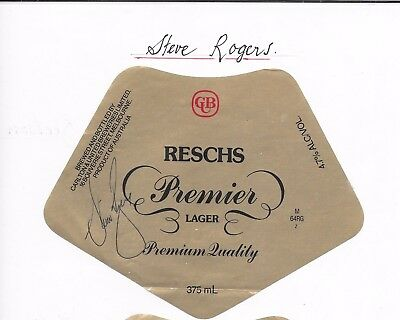 AU110.98 • Buy Steve Rogers ~ Nsw Rugby League Great ~ Hand Signed Beer Label ~reschs Premier