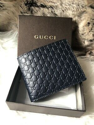 263fe9794549 NWT Authentic GUCCI Guccisimma GG BiFold Wallet In Dark Blue Embossed  Leather • 269.00$