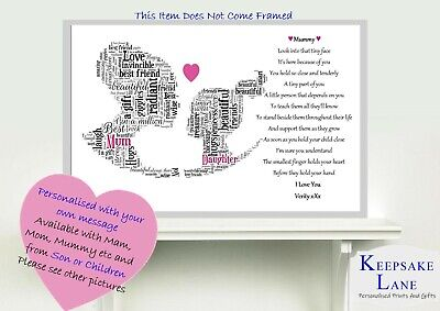 £5 • Buy Personalised Daughter Mum Poem Mothers Day Birthday Gift Word Art 1st Baby Young