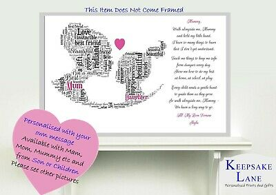 £6.49 • Buy Personalised Daughter Mum Poem Mothers Day Birthday Gift Word Art 1st Baby Young