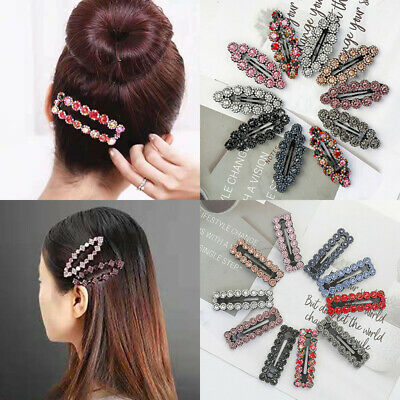 2PCS Women's Crystal Snap Hair Clips Hairpin Barrette Slide Hair Pin Accessories • 1.59$