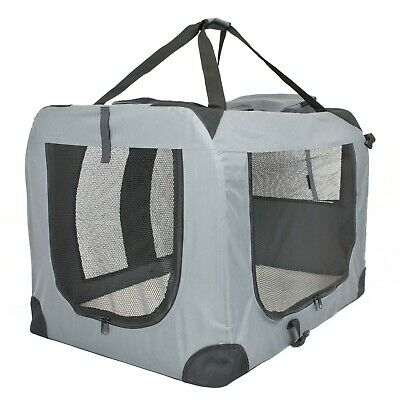 Soft PET CARRIER Folding Dog Cat Animal Travel Cage Bag Portable Grey Crate Box • 23.97£