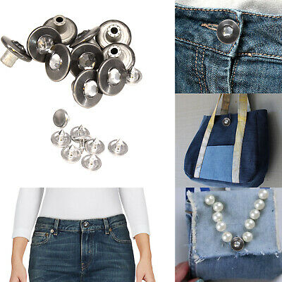 Jeans Button 17mm Replacement Hammer On Diamond With Pin For Denim Jacket Shorts • 2.49£