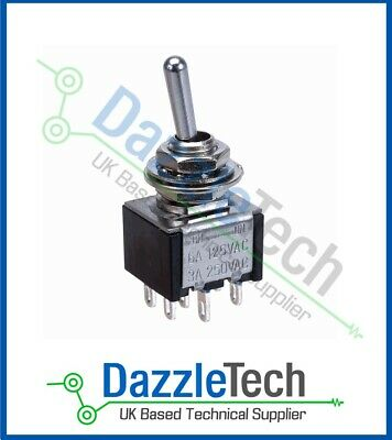 £2.99 • Buy DPDT Mini Toggle Switch ON-OFF-ON Latching Centre Off SCI TA203A1 3A/6A UK Stock