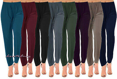 £8.95 • Buy Ladies Straight Leg Summer Trousers Tapered Stretch Casual Elasticated Palazzos.