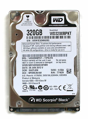 AU246.96 • Buy Wd Scorpio Black 320gb 2.5'' Hdd, 26jun2013 V, Dcm: Eaotjhn