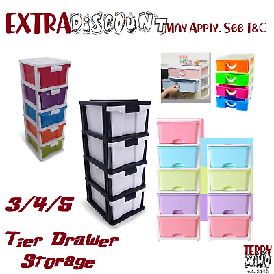 AU51.45 • Buy  3 4 5 Tier Drawer Storage Organiser Plastic Level Office Box Cabinet Coloured