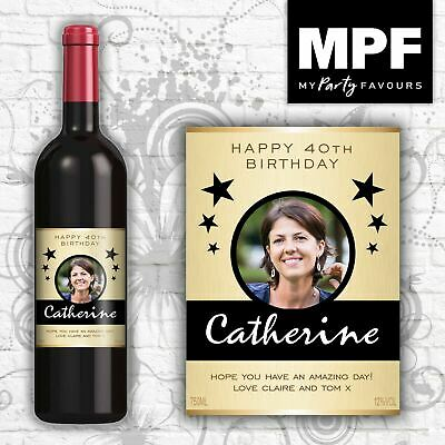 £2.95 • Buy Personalised Photo Wine Bottle Label (Birthday/Any Occasion) (GLD)