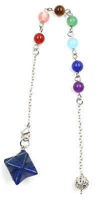 Powerful 3/4 Inch Merkabah Merkaba Crystal Healing Pendulum On Chakra Chain • 6.99£