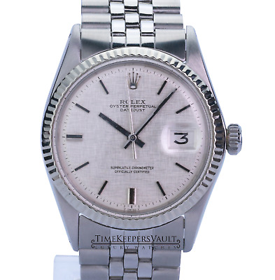 $ CDN6079.73 • Buy Rolex Datejust Mens SS Stainless Steel & 18K White Gold Jubilee Silver Dial 1601