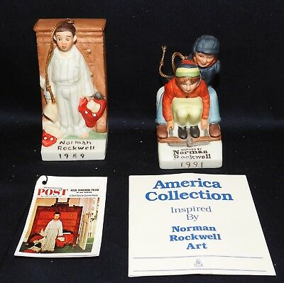 $ CDN5.17 • Buy LOT Of 2 Norman Rockwell Christmas Ornaments,  Discovery  & Downhill Daring