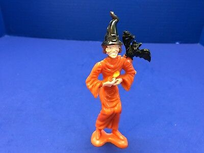 $ CDN25.95 • Buy Vintage MPC 5  Witch W Bat Orange Black Painted Halloween Figurine Figure Plasti