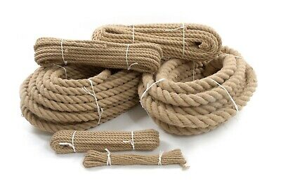 Jute Rope Natural Twisted Braided Decking Garden Boating Sash 6mm - 40mm  • 4.59£
