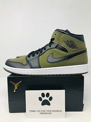 brand new b2cea abbec Nike Air Jordan 1 MID  Olive Canvas  554724-301 Size 12-14