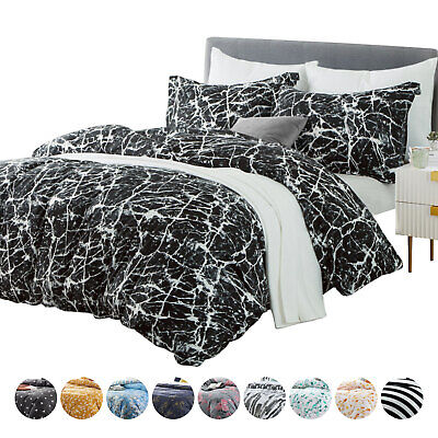 Grey Marble Effect Duvet Cover Quilt Cover Bedding Set Single Double King Size • 14£