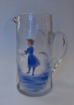 $34.50 • Buy Antique Blown Art Glass Pitcher, Mary Gregory Style, Hand Painted & Pontil 5.75