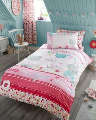 Bunny Cat Rabbit Duvet Cover Pink Quilt Bedding Kids Children Girls Single Set • 12.48£