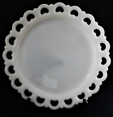 $40 • Buy Vintage Large Round Lace Heart Edge Milk Glass Cake Plate Tray Serving Platter