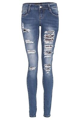 Women Ladies Skinny Skull Star Stud Sequin Ripped Distressed Lace Up Jeans Pants • 10.99£