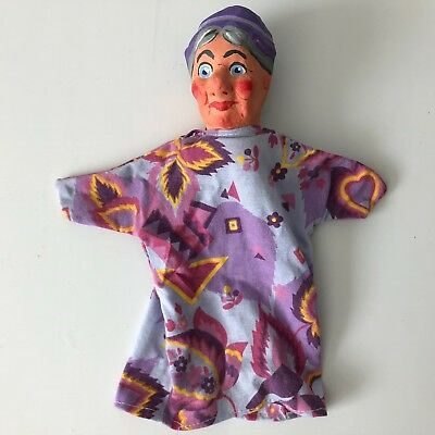 $34.95 • Buy Rare Vintage? Paper Mache Head Hand Puppet Grandmother Mr. Rogers Puppet Judy