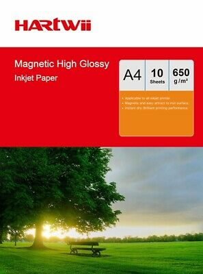 £9.99 • Buy Hartwii 10 Sheets A4 650Gsm Magnet High Glossy Photo Paper Inkjet Printer Paper