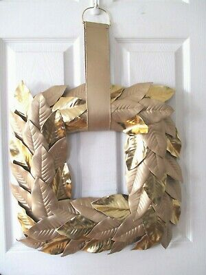 $44.95 • Buy  FAUX GOLD MAGNOLIA LEAF SQUARE HANGING 19  WREATH ~ Stunning ~ NEW