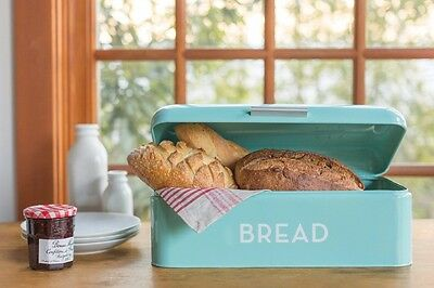 $60.95 • Buy Turquoise Blue Bread Bin Rustic Kitchen Tin Retro Keep Fresh Box Canister Metal