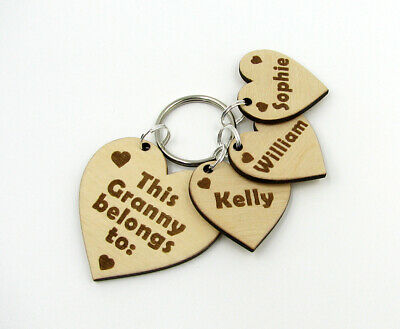Personalised Wooden Heart Keyring This Granny Belongs To Engraved Gran Gift Idea • 6.45£