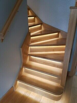 £1065.48 • Buy Oak LED Grooved Staircase Steps Cladding System 13 Straight Treads And Risers