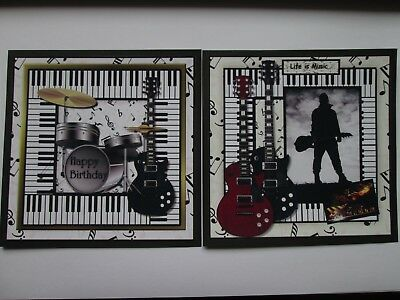 £1.25 • Buy  2 X Musical Themed GUITAR / DRUMS / PIANO Hand Made Card Toppers