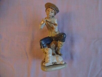 Vintage Nao By Lladro  Boy Playing Flute With Lamb   Height 7  18 Cm 1989 • 32£