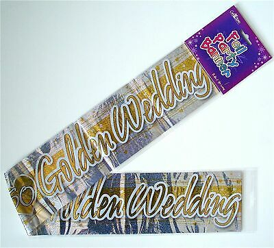 Golden 50th Gold Wedding Anniversary Foil Party Wall Decoration Banner • 3.50£