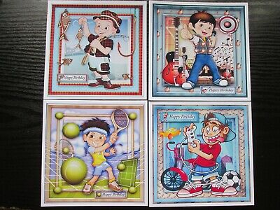 BUMPER SET ==== 4 X Birthday Boy Collection Card Making Toppers  • 1.99£