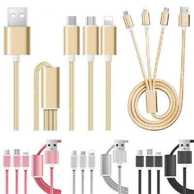 AU6.05 • Buy 3 In 1 Multi TYPE C Micro USB Charger Charging Cable Cord For IPhone Android