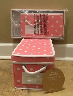 $23.99 • Buy NEW 2PC Pottery Barn Teen MINI Dottie Canvas Bin PINK