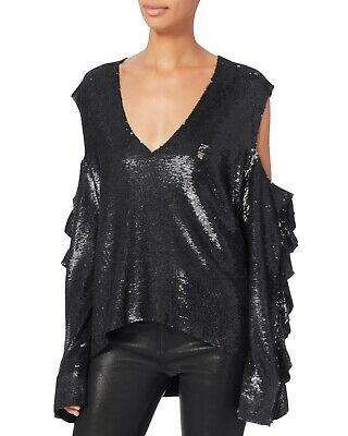 $ CDN125.71 • Buy IRO NWT Waleast Black Sequined Cold Shoulder Long Sleeves Knitted Top 2/34