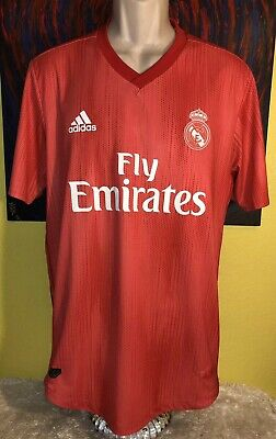 7b6db12f1d8 Men's Adidas Real Madrid 18/19 Third Away Soccer Jersey Size Large Coral  Red •