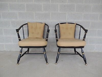 $695 • Buy Rousseau Bros. Barrel Back Spindle Black Painted Club Chairs-Pair